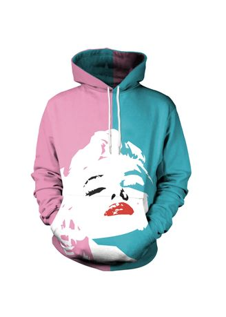 Multi color Sweatshirts . New 3D printing Marilyn Monroe loose hooded sweater -