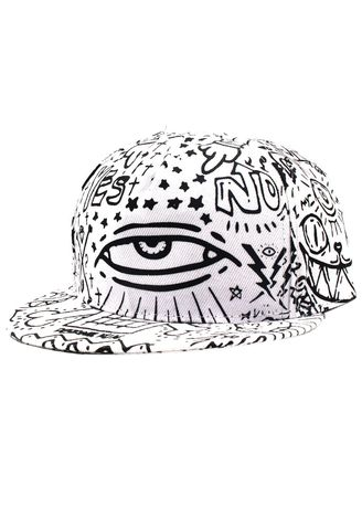 "White color  . Digisoria Unisex Hip-hop ""Doodle"" Snapback Cap -"