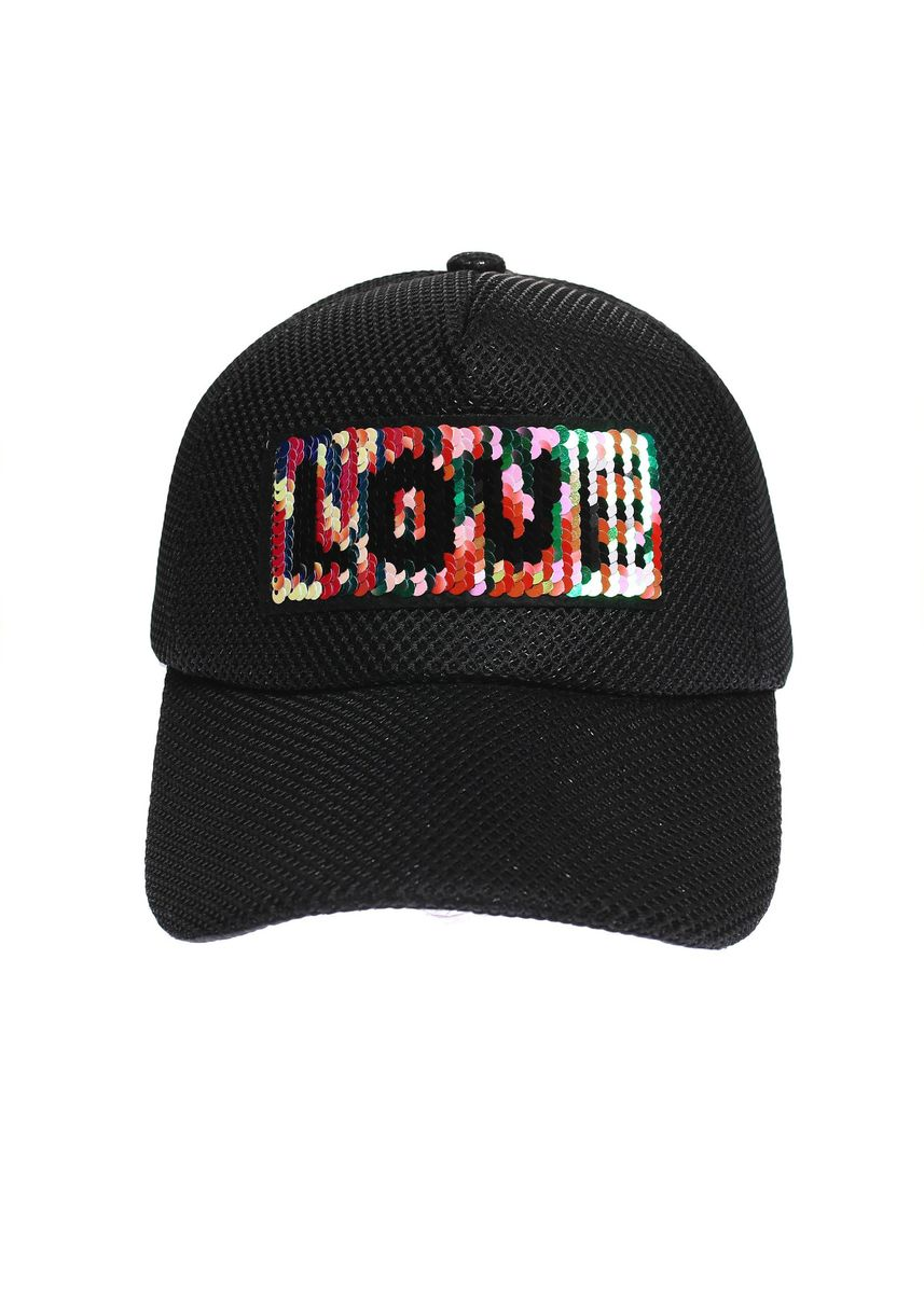 Black color  . Digisoria Street Fashion Party Cap Love Sequin Netted Baseball Cap -