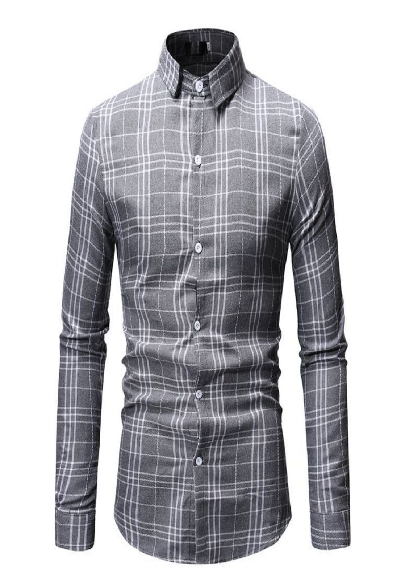 Grey color Casual Shirts . Men Checked Basic Casual Shirts -