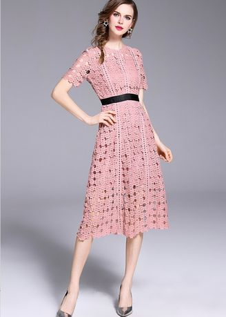 Pink color Dresses . Hollow Out Water Soluble Lace Dress With Short Sleeves -