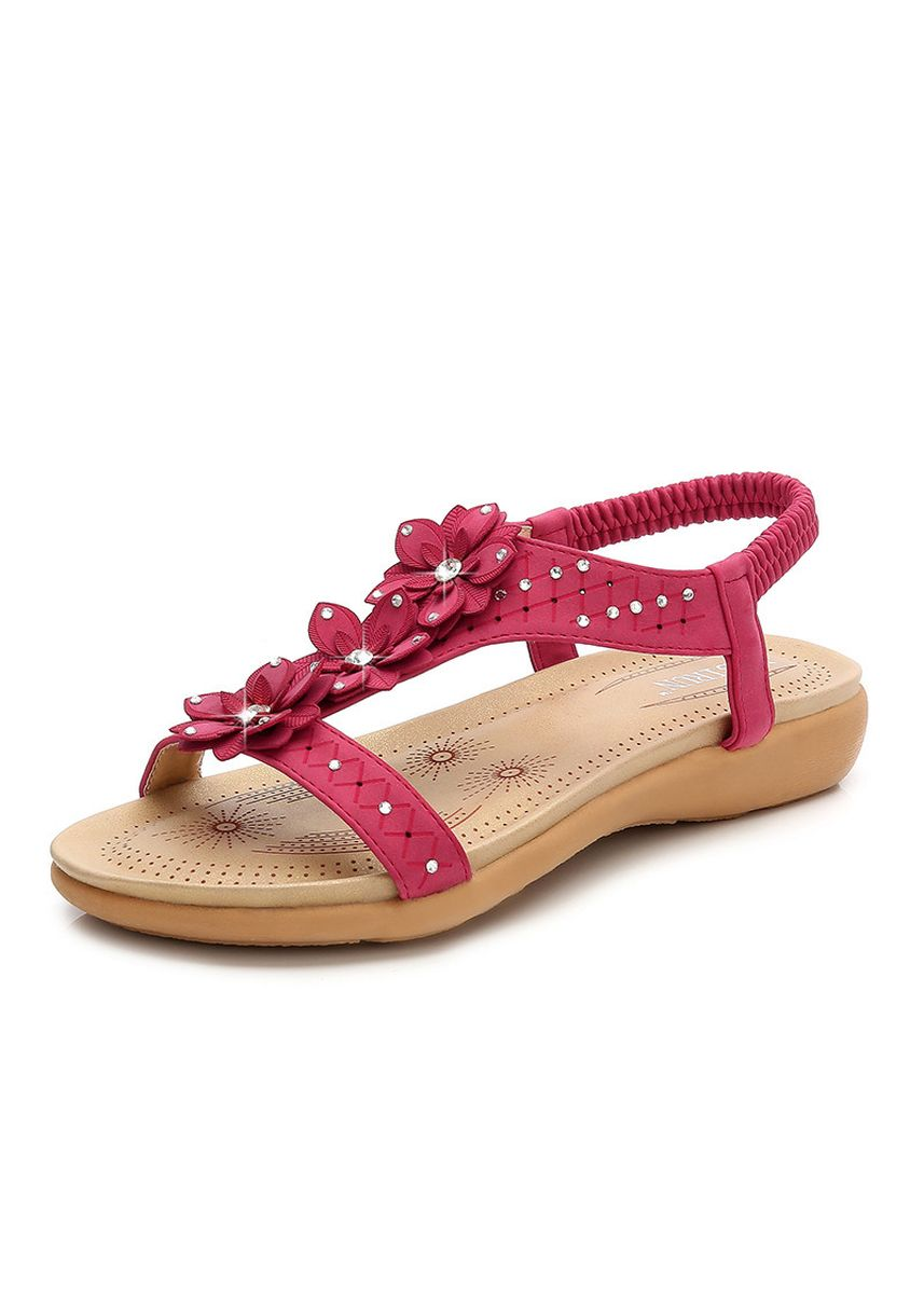 Red color Sandals and Slippers . Bohemian Women's Sandals Large Size Non-slip Wear Beach Holiday -