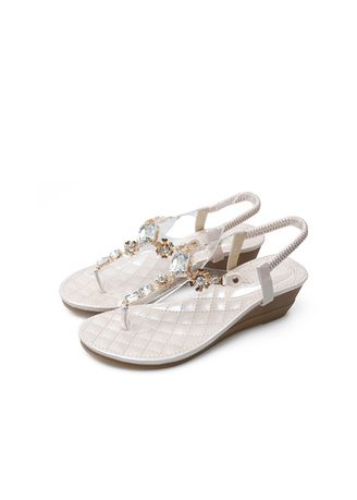 Brown color Sandals and Slippers . Casual Pin-toe Simple Wedge Sandals Rhinestone Toe Bohemian Women's -
