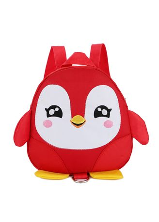 Red color Bags . Cartoon Penguin Schoolbag Cute Lost 1-3 Old Baby Backpack Children's -