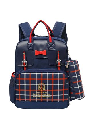 Navy color Bags . Ins Bow Student Bag Girl Princess Backpack To Grade Plaid Shoulder -