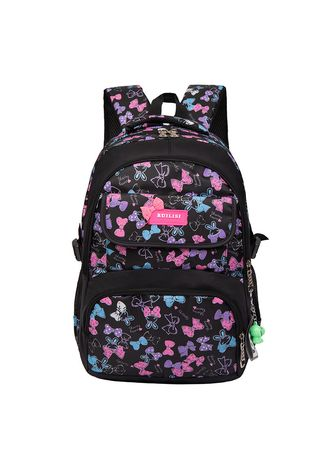 Black color Bags . Student Backpack Casual Outdoor High Breathable Bag Printing Travel -