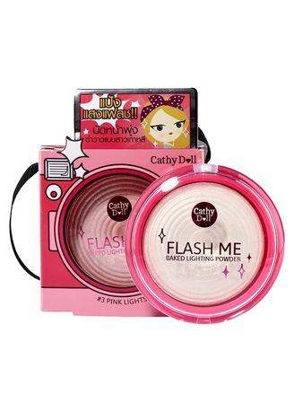 Pink color Face . Cathy Doll Flash Me Baked Lighting Powder แป้งแสงแฟลช 8g. เนื้อBakedผสมชิมเมอร์ -