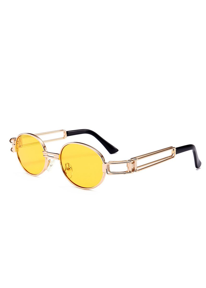 Yellow color Sunglasses . Hot Style Oval Metal Steampunk Sunglasses In Europe And The Street -