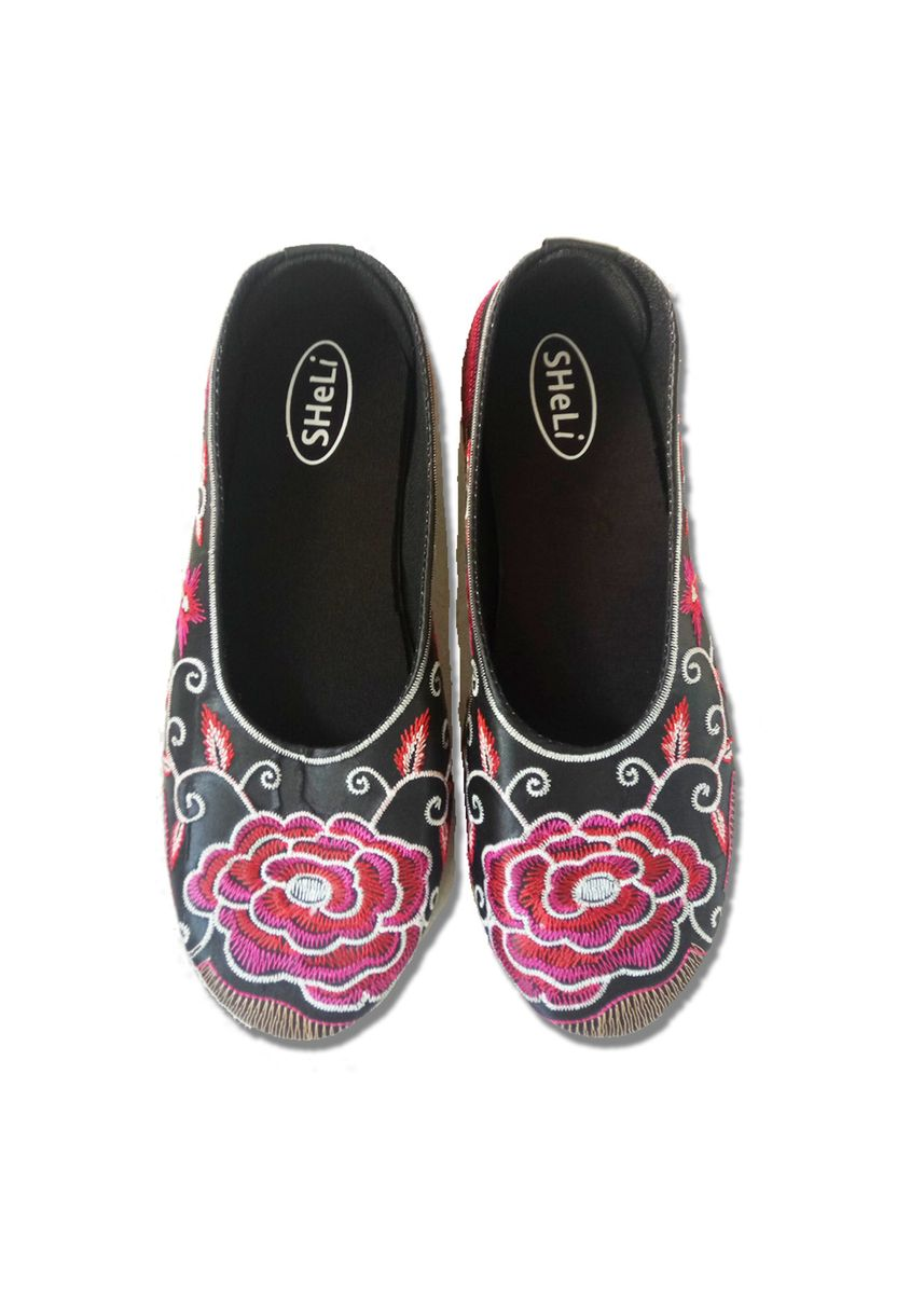 Pink color Flats . Sheli Red Rose Sepatu Bali Wanita Flat Shoes Women Bordir Motif Bunga Mawar -