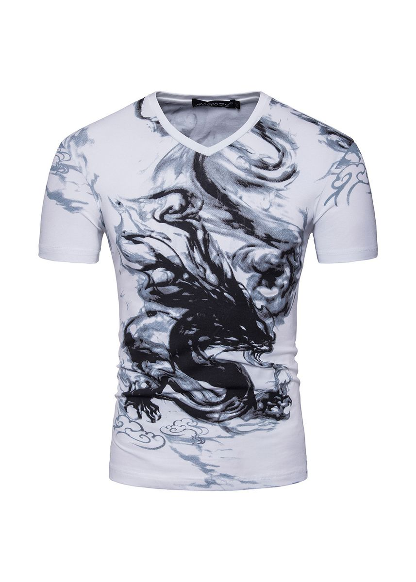 White color T-Shirts and Polos . fashionable short-sleeved T-shirt -