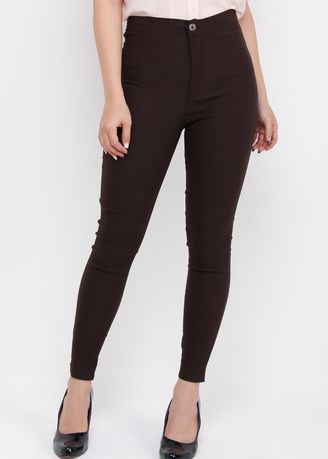 Brown color Trousers .  Miss Hotty Otomen Soft High Waist One Button -