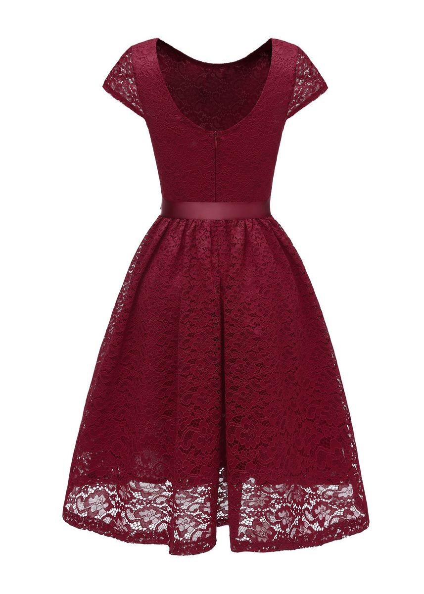 Red color Dresses . Women's Vintage Lace Dress -