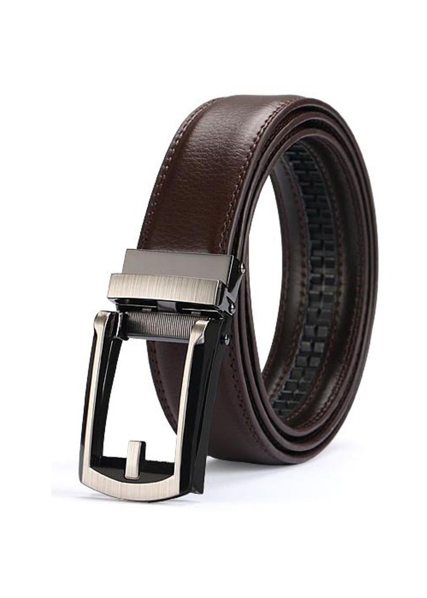 น้ำตาล color เข็มขัด . Two-layer Leather Automatic Buckle Belt Comfort ClickBelt Men's Fake -