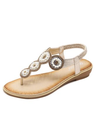 Gold color Sandals and Slippers . 30-14 Strong Zinc Fashion Sandals Rhinestones Plus Size Flat Shoes -