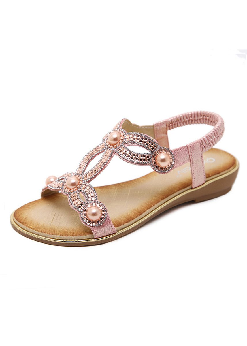 Pink color Sandals and Slippers . 30-11 Strong Zinc Fashion Casual Sandals Rhinestone Large Size Flat -