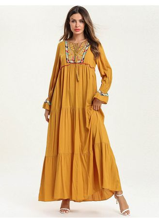 Yellow color Plus Size Fashion . 2019 Women's Plus Size Fashion Embroidered Pure Color Gown Dress -