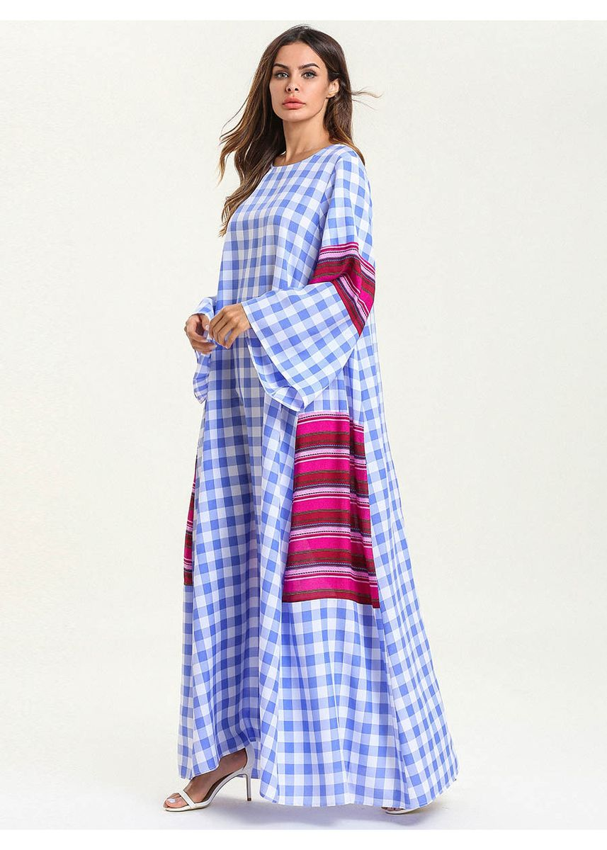 Blue color Plus Size Fashion . 2019 Women's Plus Size Fashion Checked Gown Frenulum Dress -