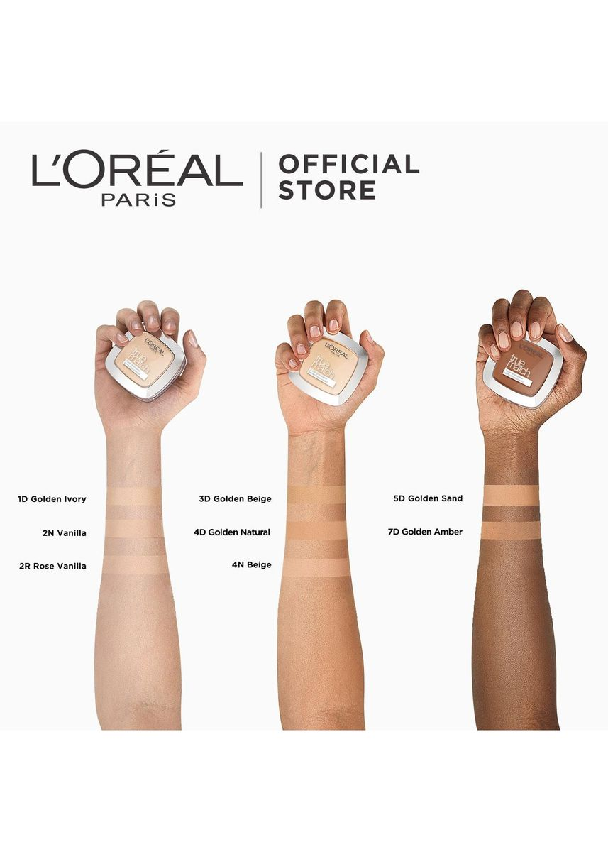 Beige color Face . True Match Skin-Caring Skin-Matching Pressed Powder - 4D Golden Natural by L'Oreal Paris -