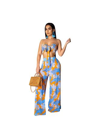 Multi color Jump Suits . Sexy feather print strap-on Jump Suits -