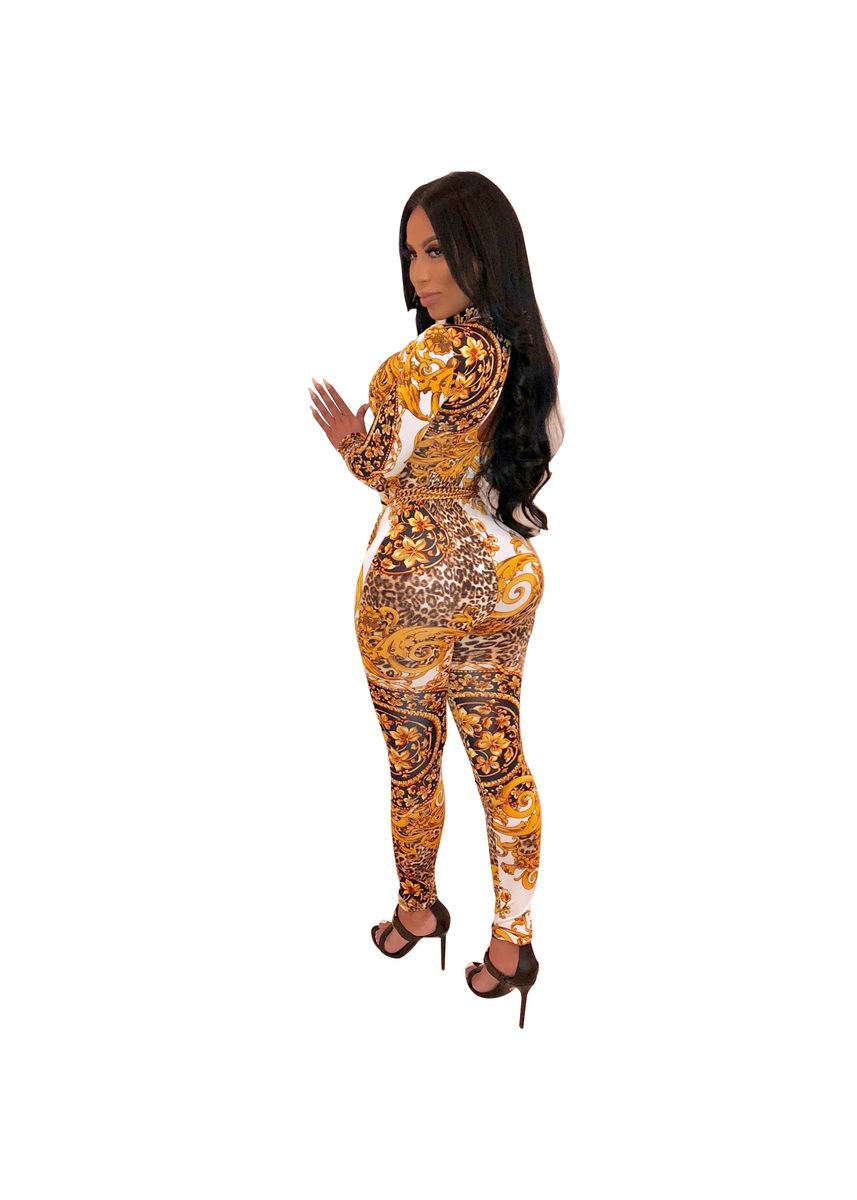 Yellow color Jump Suits . Sexy Flower Leopard Patterns Jump Suits -