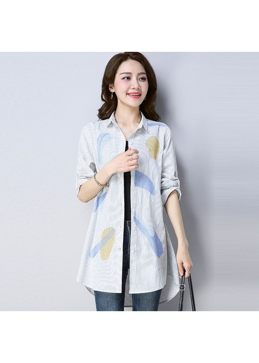 White color Tops and Tunics . Women Striped Tops Loose Plus Size Blouses -