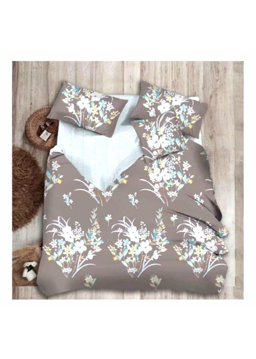 Multi color Bedroom . MODERN SPACE High Quality Fitted Bedsheet Double Size With FREE Two Pillow Cases Floral Brown Printed Design -