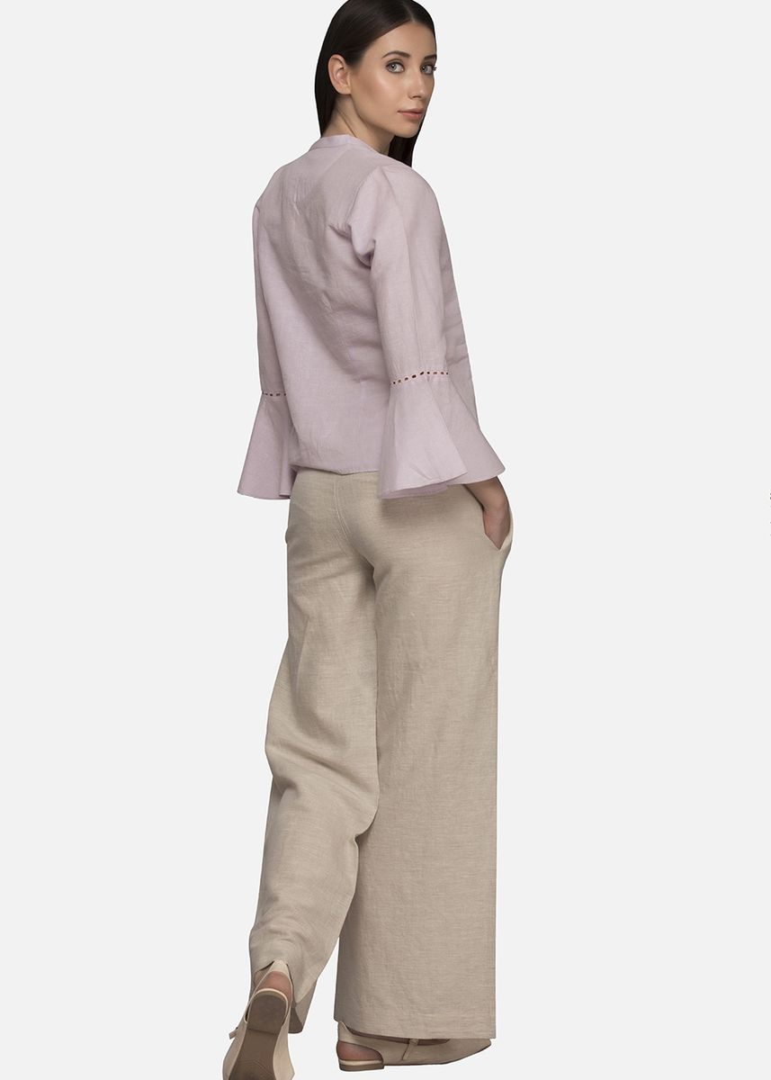 Violet color Tops and Tunics . Lavender Bell Sleeve Linen Top -