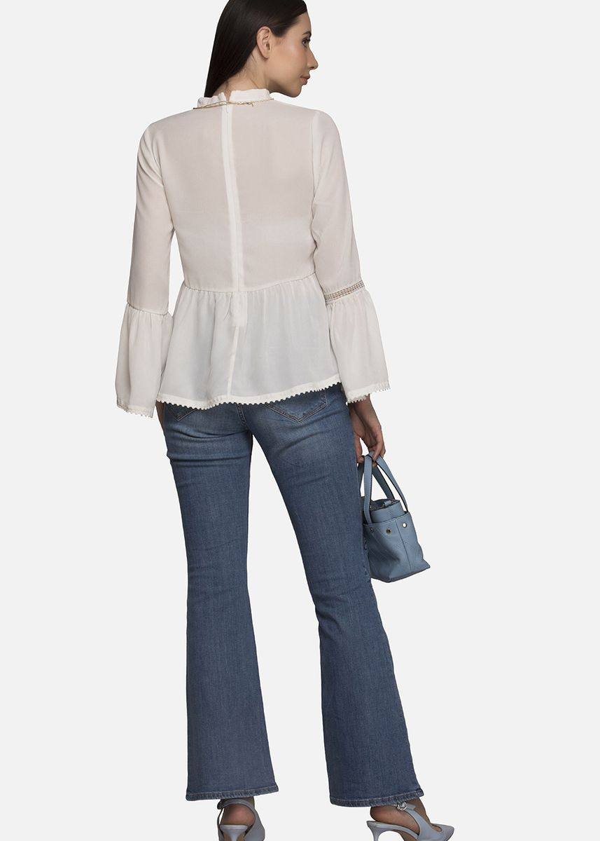 White color Tops and Tunics . Bell Sleeve Georgette Blouse -