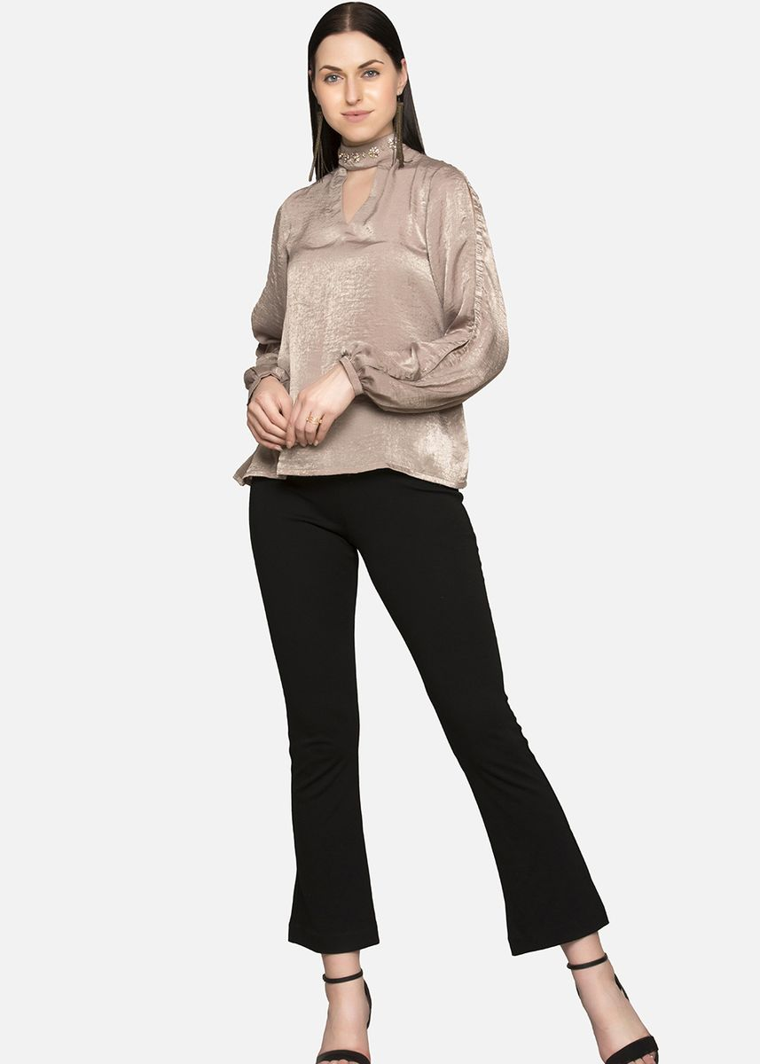 Beige color Tops and Tunics . Bishop Sleeve Blouse With A Keyhole Front And Back -