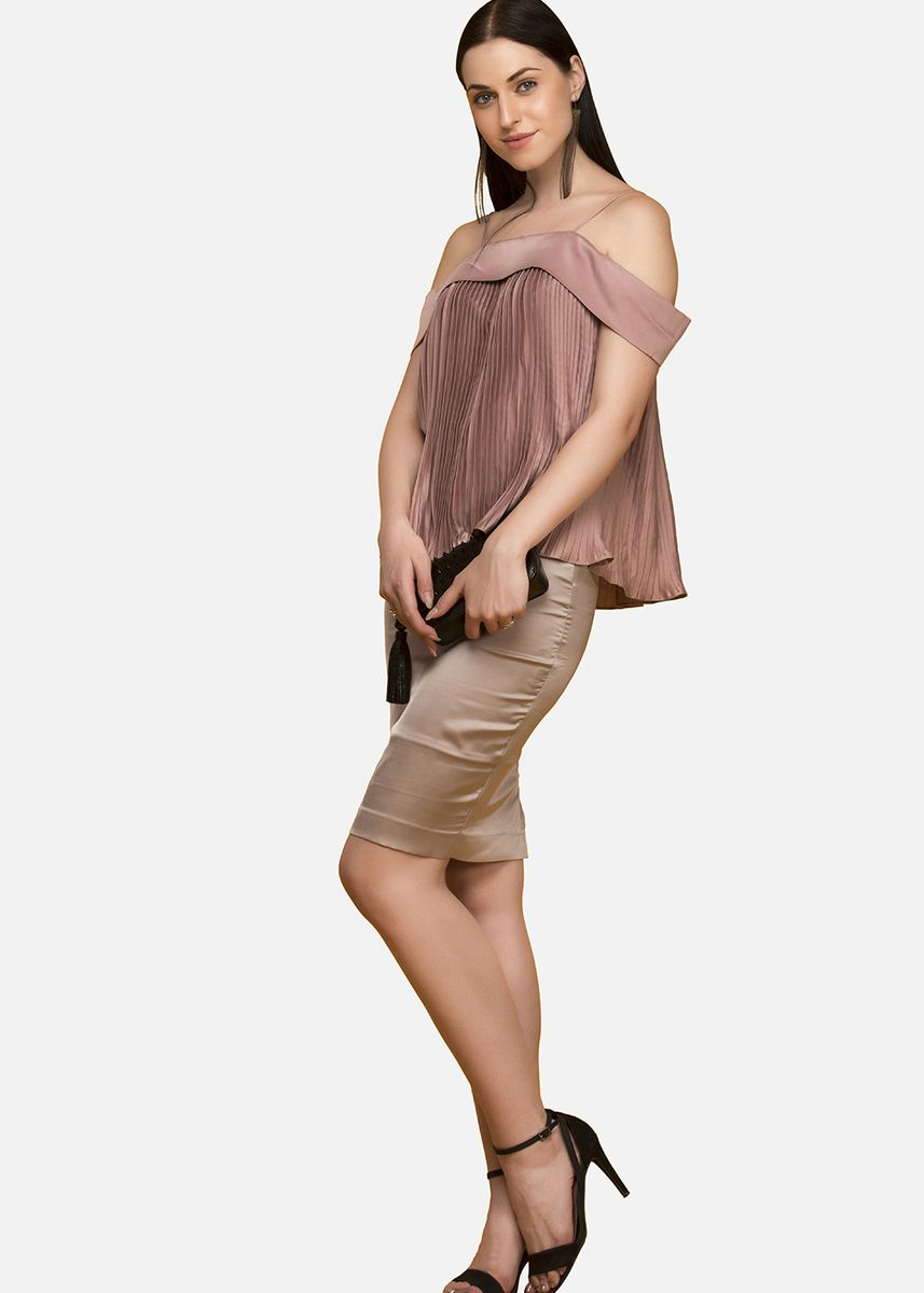 Pink color Tops and Tunics . Jenny Noodle Strap Off Shoulder Accordion Blouse -