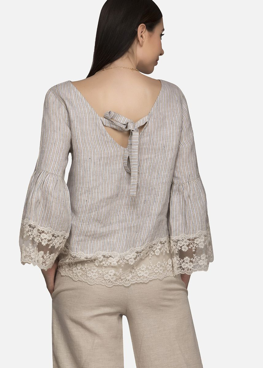 Grey color Tops and Tunics . Scallop Lace Striped Blouse -