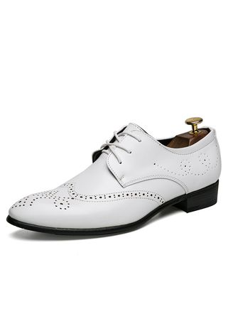 White color Formal Shoes . Four Seasons Men's Retro Fashion Carved Brock England Casual Leather -