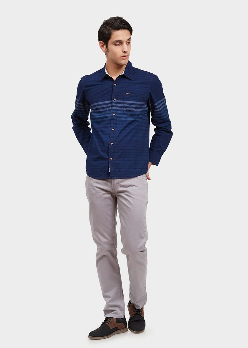 Navy color Casual Shirts . USED JEANS-46Jn16 Men's Shirt in Navy -