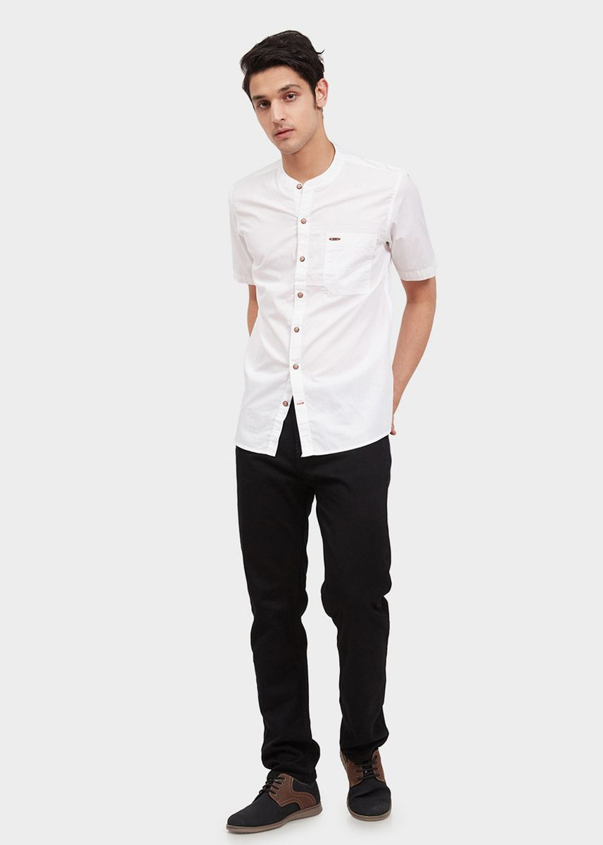 White color Casual Shirts . USED JEANS-Harland Men's Shirt in White -