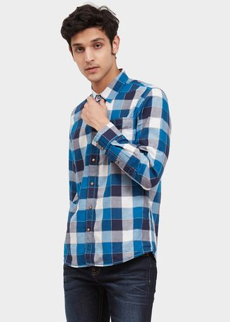 Biru color Kemeja Kasual . USED JEANS- 46Jn16 Men's Shirt Long Sleeve In Blue -