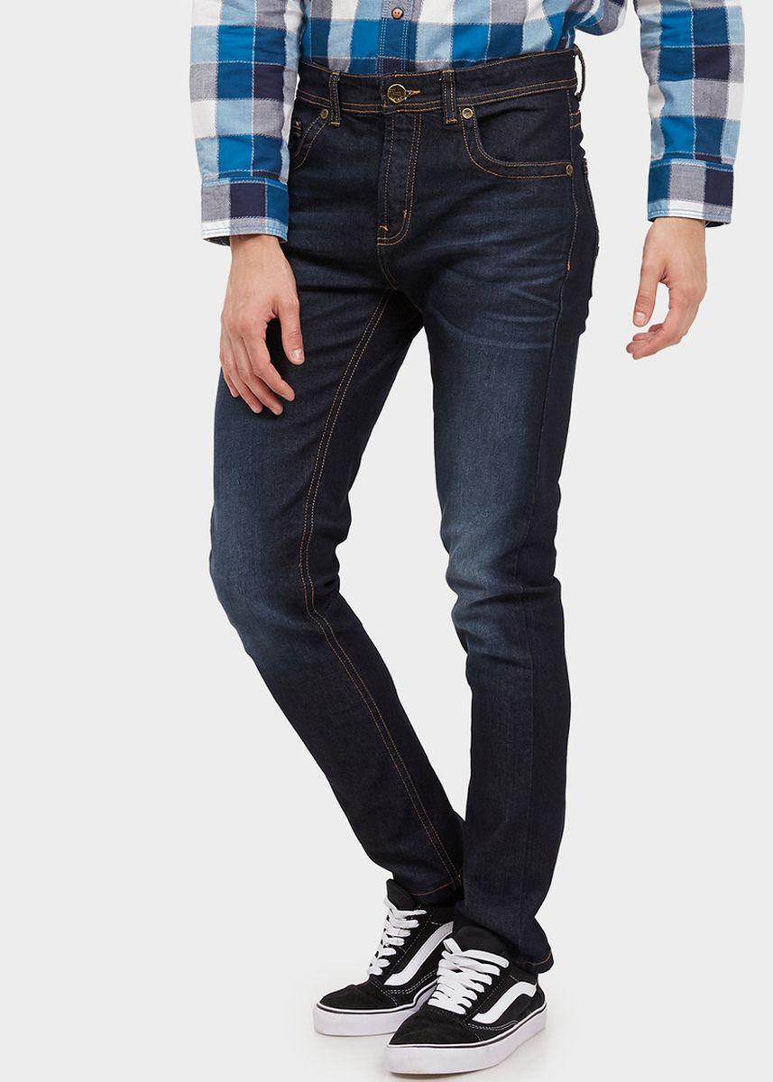 Navy color Jeans . USED JEANS - 575 Slim Men's Jeans in Enzym Wash -