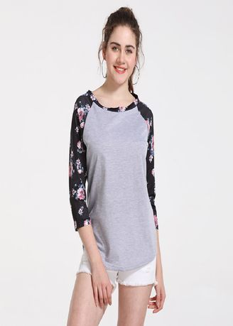 Grey color Tops and Tunics . Women Flower Sleeve Tops -