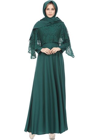 113f01c87b3 Women Muslim Islamic Kaftan Long Sleeve Lace Long Maxi Dress