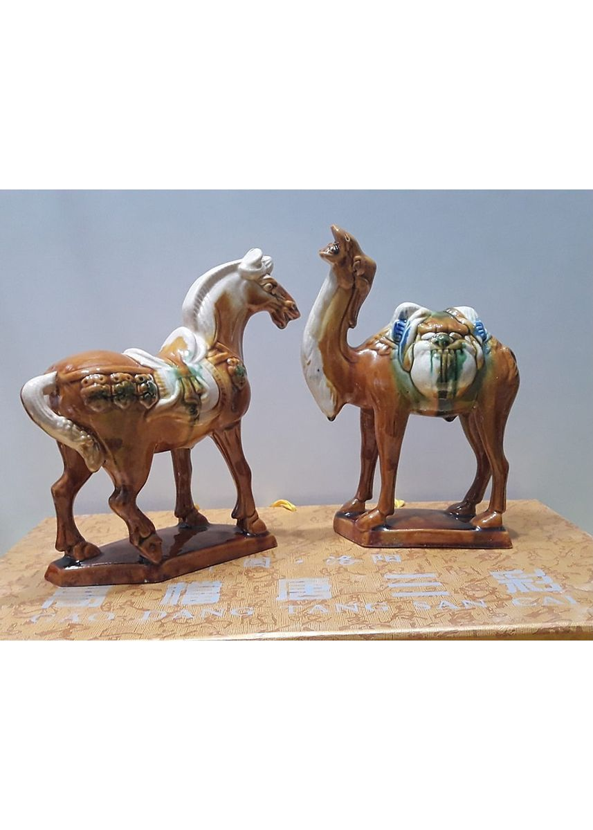 Multi color Home Decor . Tang Sancai Porcelain Horse And Camel - Free Magic Cleaning Sponge -
