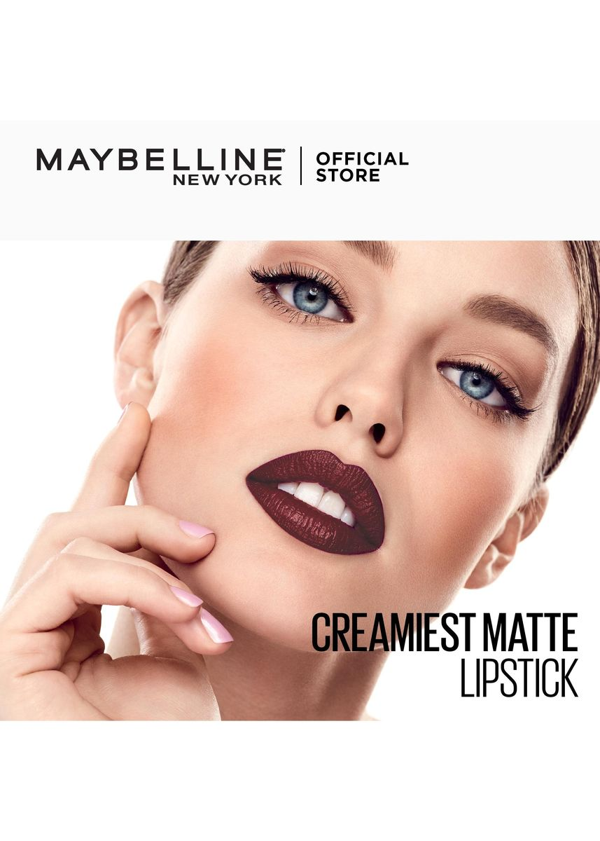 Red color Lips . Creamy Matte Lipstick [New York's #1] by Maybelline Color Sensational(Divine Wine) -