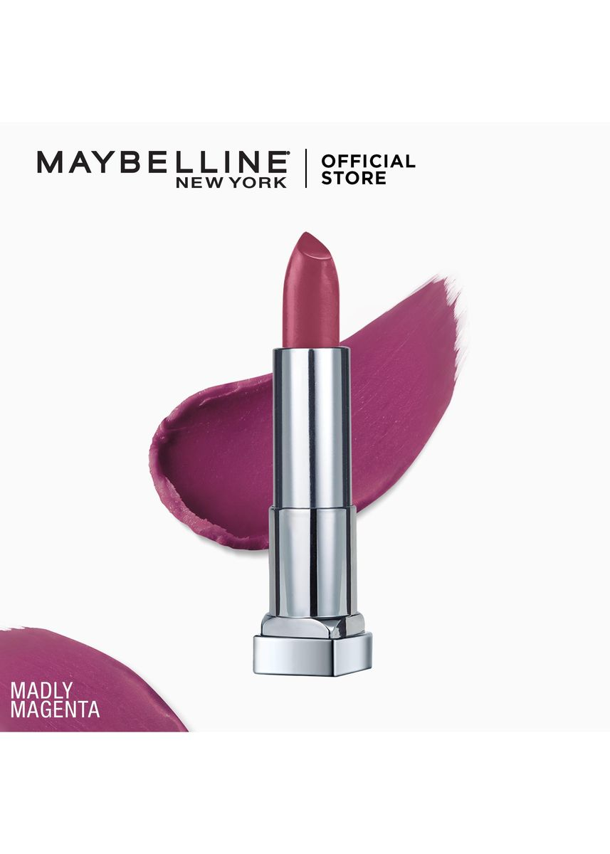 Purple color Lips . Creamy Matte Lipstick [New York's #1] by Maybelline Color Sensational(Madly Magenta) -