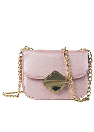 Pink color Sling Bags . On Small Bag Tide Simple Versatile Slung Shoulder Chic Chain Square -