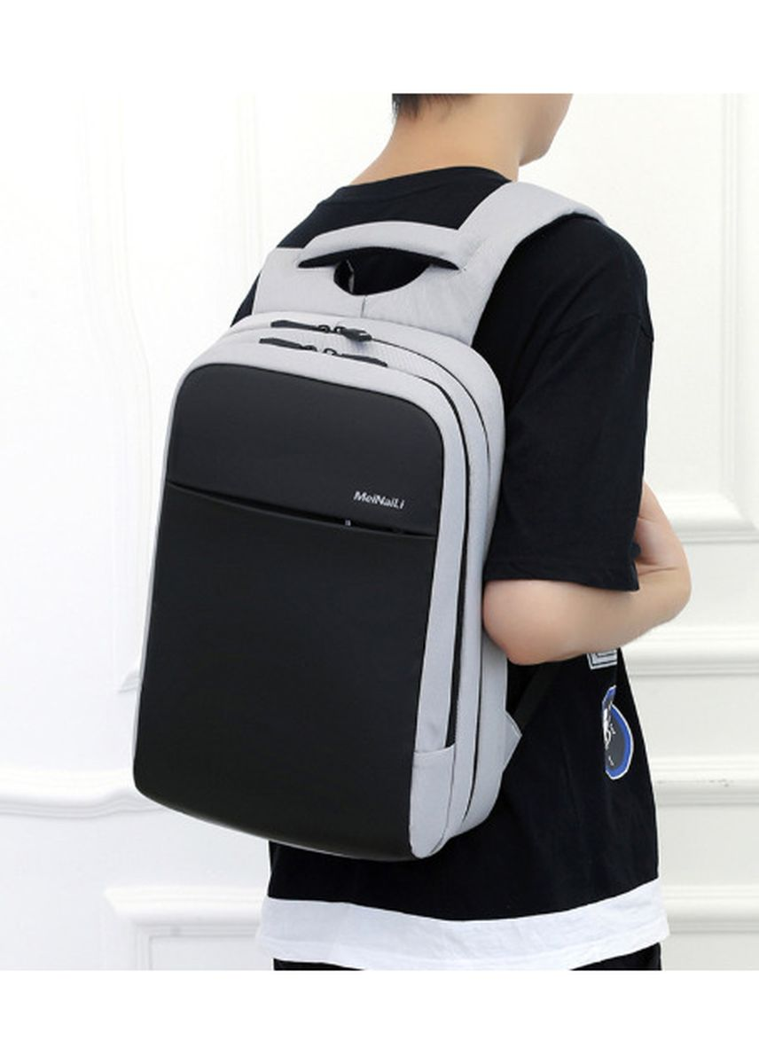 เทา color เป้สะพายหลัง . Recreational shoulder backpack Oxford cloth computer student bag men USB shoulder Backpack -