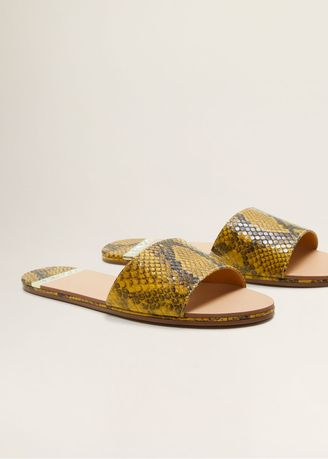Sandals and Slippers . Mango Snake Print Effect Sandals -