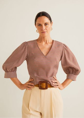 Tops and Tunics . Mango Gingham Check Blouse -