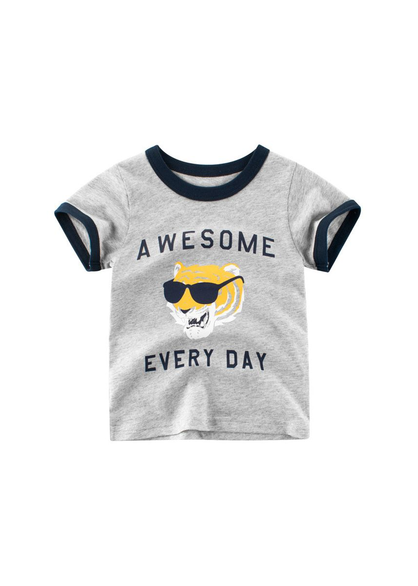 Grey color Tops . 27kids Children's Clothing Short-sleeved T-shirt Cotton Boys -