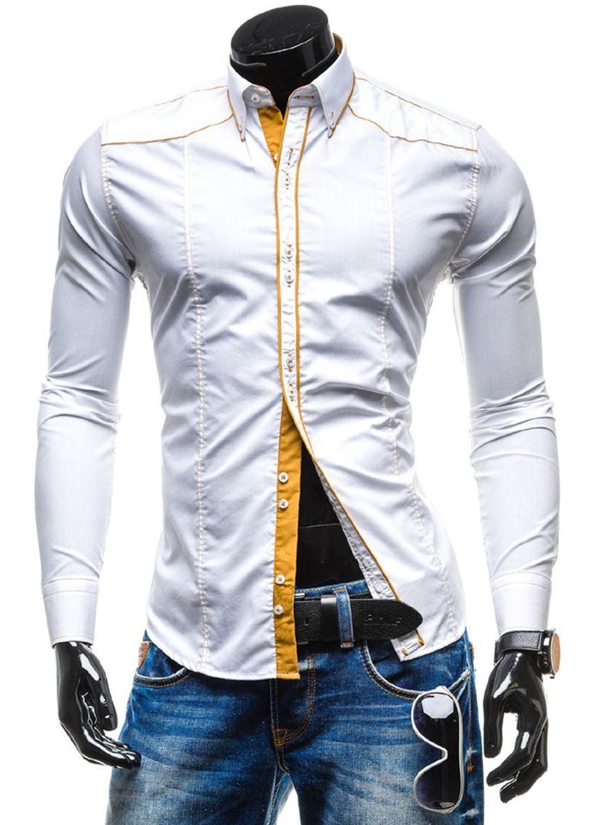 White color Casual Shirts . Men's Fashionable Casual Personality Striped Shirt -