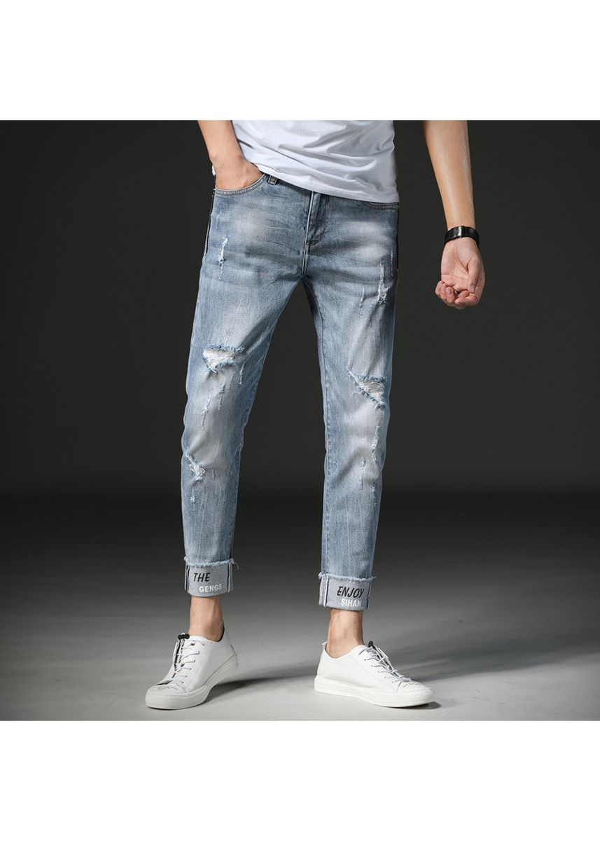 Blue color Jeans . Strechy Slim Ankle Length Damage Jeans Mens -