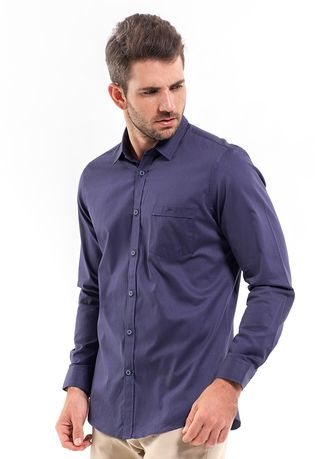 Navy color Casual Shirts . MANLY Kemeja Slim Fit Khanias Navy Blue -