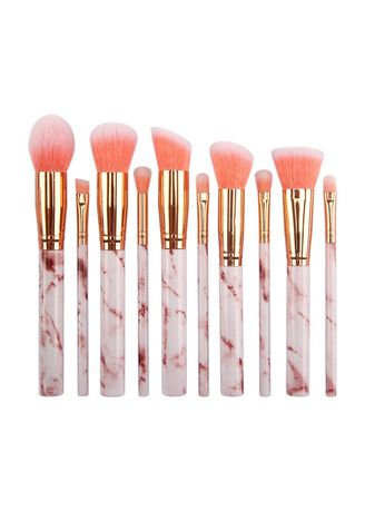 Pink color Brushes . 10 Pcs Set Of Marble Makeup Brushes -